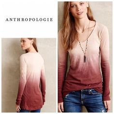 """Anthropologie dip dye top - pure + good Size m and will fit a size 6-10 . Great length -26.5"""" long . Will bundle for 10% off Anthropologie Tops Tees - Long Sleeve"""