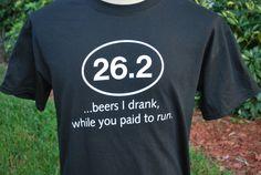 FUNNY tshirt, Beer drinking, Runner , Marathon, Half marathon, Offensive , Controversial , Screen Print , Humor Shirts on Etsy, $20.00