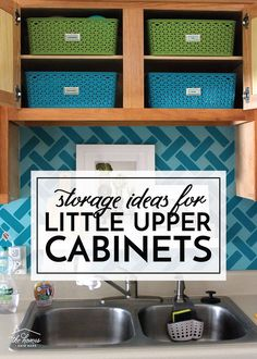 Storage Ideas for Little Upper Cabinets | Great ideas and solutions for using those small upper cabinets in your kitchen! Kids Clothes Organization, Playroom Organization, Craft Room Storage, Organization Hacks, Storage Ideas, Organizing, No Closet Solutions, Storage Solutions, Clever Closet