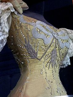 This closeup shows the appliqué and embroidery of Dowager Empress Marie Feodorovna's gown worn to the coronation of Tsar Nicholas II in 1896.