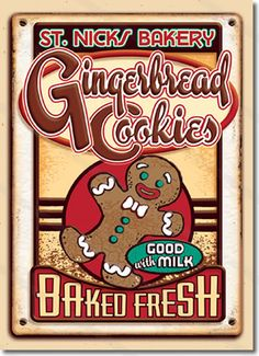 Gingerbread Cookies Christmas Cards  Our Gingerbread Cookies Christmas Cards are designed to look like antique tin signs advertising gingerbread cookies for sale. A nice vintage Christmas card for lovers of Americana. It's a delicious time of year!  8 cards & envelopes $12.00 | Folded Card Size 4.5″x 6.25″