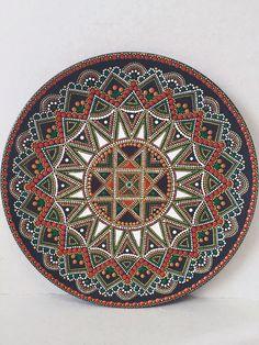 Decorative plate, point-to-point. Mandala Painting, Dot Painting, Mandala Art, Painting & Drawing, Point Paint, Flower Henna, Circle Art, Mandala Rocks, Mandala Pattern