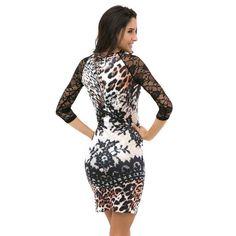 Moda Vestido Feminino estampa animal Calitta Brasil. Vestido Floral Leopardo Estampado Curto Manga 3/4 Casual e Trabalho. Site de roupas online barata Calitta Brasil.