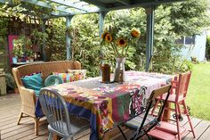 Veranda: Boho Tablecloth and Wonderful Cushions