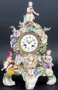 Meissen Porcelain Mantel Four Seasons Clock Set Garniture Candelabras clock H x W 16 x D 8 include stand . Antique Pendulum Wall Clock, Antique Wall Clocks, Antique Desk, Big Clocks, Clocks For Sale, Eames, Classic Clocks, Unusual Clocks, Wall Clock Online