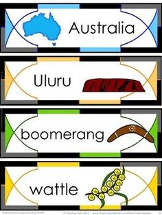 FREE illustrated word wall cards about the land down under! Australia for Kinder Kids FREEBIE contains a Label the Emu activity, Counting by activity and 8 Australia Word Wall cards. Aboriginal Education, Indigenous Education, Aboriginal History, Aboriginal Culture, Aboriginal Art For Kids, Naidoc Week Activities, Kindergarten Activities, Classroom Activities, Activities For Kids