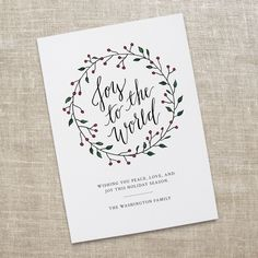 Joy to the World Holiday Card Printable. Calligraphy Greeting Card Printable. Hand Lettered Christmas Card Printable. DIY Printable Card. by KateBerryDesign on Etsy