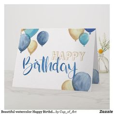 Shop Beautiful watercolor Happy Birthday design Card created by Cup_of_Art. Happy Birthday Cards Handmade, Creative Birthday Cards, Beautiful Birthday Cards, Homemade Birthday Cards, Birthday Cards For Friends, Bday Cards, Birthday Wishes, Drawn Birthday Cards, Ideas For Birthday Cards