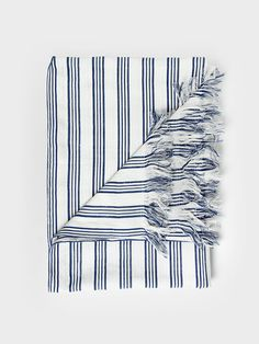 Dark Indigo Striped Throw with Fringes by Tensira
