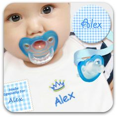 Embroidered Bib Set with Personalized Paci Clip and FREE JollyPop! Unique gift for new moms and dads.