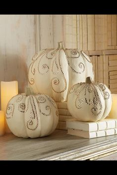 Decorative Pumpkins - Found these 3 but w/ black crystals. Very happy. Picture's below.
