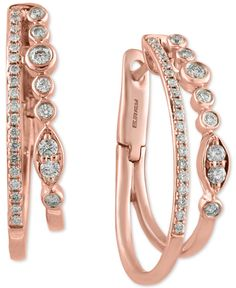 """Inspired by romance, these hoop earrings by Effy feature double rows of sparkling round-cut diamonds (1/2 ct. t.w.) set in beautiful 14k rose gold. Approximate diameter: 1"""". 
