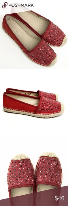 """Franco Sarto Embellished Red Twilight Espadrilles These Italian made red leather espadrilles are ultra chic and will add the perfect style to any outfit! Suede leather upper with embellished pewter tone studs, round toe with reinforced toe, rubber soles. 1"""" Heel HeightThese are my pictures of actual shoes I am selling- they fit true to size. Brand new without box! Size 8 Franco Sarto Shoes Espadrilles"""
