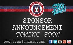 Exciting new sponsor announcement coming soon! Stay tuned! #WeAreToca #soccer #football #Futbol #YouthSoccer #futsal #indoor #tocajuniors #Potomac #PLAYsimple #TOCA