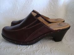 Women's Sofft  Brown Leather  Mule Clogs SZ 9 B (MED) #Sofft #Clogs