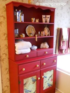 Red Painted Hutch with Birds