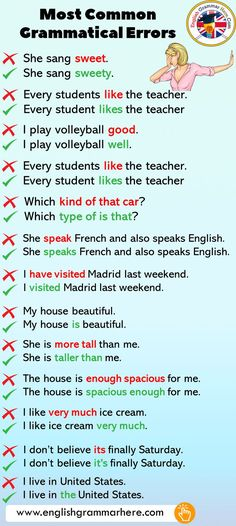 Most Common Grammatical Errors in English - English Grammar Here English Grammar Notes, Teaching English Grammar, English Grammar Worksheets, English Sentences, English Writing Skills, English Phrases, English Language Learning, English Lessons, American English Grammar