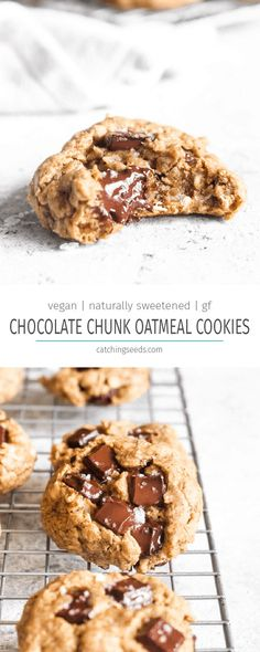 Chocolate Chunk Oatmeal Cookies have crispy edges and a soft center studded with. - Chocolate Chunk Oatmeal Cookies have crispy edges and a soft center studded with melty chocolate. Vegan Treats, Healthy Treats, Healthy Desserts, Healthy Breakfasts, Eating Healthy, Clean Eating, Vegan Dessert Recipes, Baking Recipes, Cookie Recipes