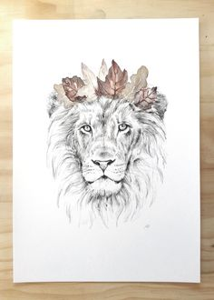 Lion King of the Jungle print A4 - Contemporary art print of pencil ...