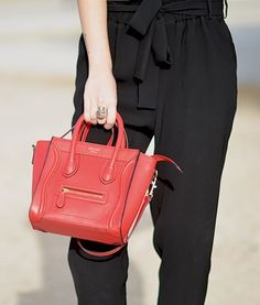 Leather mini luggage in Lipstick Red Celine