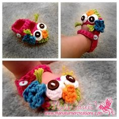 Crochet Owl Mary Jane Baby Booties