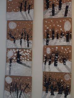 Winter Crafts For Kids Winter Art Projects, Winter Crafts For Kids, School Art Projects, Art For Kids, Kindergarten Art, Preschool Art, Theme Noel, Art Lessons Elementary, Art Classroom