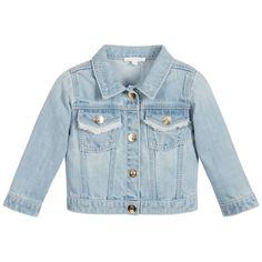 Chloé Baby Girls Blue Cotton Denim Jacket at Childrensalon.com