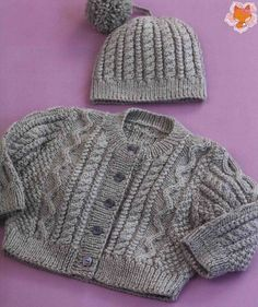 Baby Knitting Patterns Free pattern for baby cardigan and cable hat. Baby Sweater Patterns, Baby Cardigan Knitting Pattern, Knit Baby Sweaters, Knitted Baby Clothes, Baby Knits, Aran Knitting Patterns, Cable Knitting, Knit Patterns, Hand Knitting
