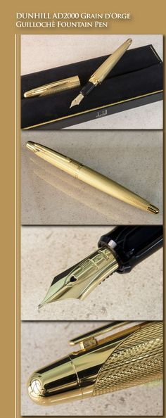 DUNHILL AD2000 Grain d'Orge Guillochè Fountain Pen (gold-plated brass body, gold-plate trim, 18kt gold nib) - 1998 / Switzerland