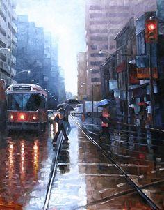 Rainy day watercolour in Toronto