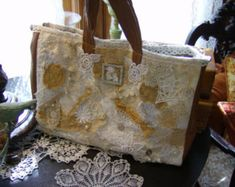 274100ab01c2a Handmade purse Lace Crossbody bag Boho Festival bag OOAK White Antiqued  white Vintage Laces