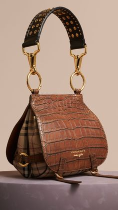The Bridle Bag in Alligator and Haymarket Check Russet Brown | Burberry