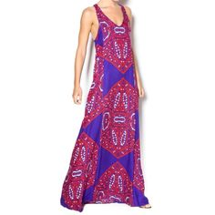 """Amazing NWT Ella Moss Fez Kaleidscope Maxi Dress This gorgeous maxi dress is still listed on the Neiman Marcus and Ella Moss websites. Stunning tile print in rich royal blue and red. This will be your go-to dress during the hot days of summer as it perfectly skims the body with an easy flattering fit. Brand new with tags and only flaw is small pull on underside of one strap (see last pic.) Perfect for tall ladies as length is 63.5"""" from strap to hem. Print would allow for some hemming. Ella…"""