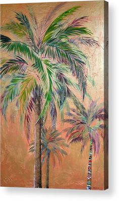 Copper Trio Of Palms Acrylic Print by Kristen Abrahamson. Three palm trees on copper background.