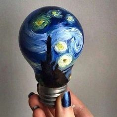 light bulb painted with starry night