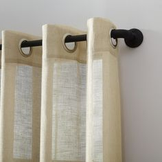 Shop for Archaeo Slub Textured Linen Blend Grommet Top Curtain. Get free delivery On EVERYTHING* Overstock - Your Online Home Decor Outlet Store! Hanging Curtains, Drapes Curtains, Curtain Fabric, Curtain Rods, Embroidered Pillowcases, Natural Linen, Decorative Pillows, Texture
