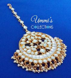 Golden Kundan Pearl Maang Tikka Forehead by UmmisCollections Maang Teeka, Tikka Jewelry, Indian Costumes, Indian Wedding Outfits, Pearl, Jewels, Clothes, Collection, Color