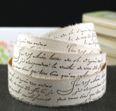 PEEL & STICK - 2 YARDS Stamped French Script Words Muslin Fabric Adhesive Ribbon-for Weddings,Scrapbooking, Gift Wrapping, Decorating $4.45