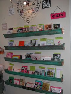 Copper rain gutters as a greeting card display ~ so cute!  No room now, but this was how we had it in 2005.