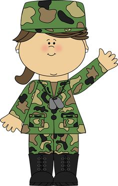 Soldier Waving Clip Art Image   Girl Wearing A Camoflauge Military