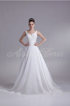 Princess Off-shoulder Sweetheart Backless Pleat Cathedral Train Taffeta Wedding Dress- Abbydress.com