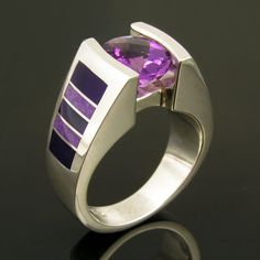 From Hileman Silver #Jewelry: Sterling silver #amethyst ring inlaid with sugilite.