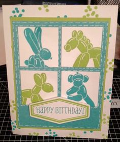 CTMH Balloon Animals SOTM. Card by Elly Habets and Diana Comer