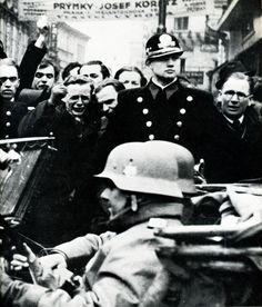March 15, 1939 - Shocked and angry Czechs reacting to the Nazi takeover  of the whole of Czechoslovakia and its capital, Prague.  CTK