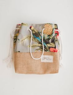 Tropical Pineapple Beach Bag / Palm Print Jute Tote / The Sandbag Special Edition