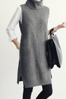 Gray sleeveless pullover with turtleneck , Gray Turtle Neck Sleeveless Jumper , ▲ C l o t h i n g & A c c e s s o r i e s Source by nataluda Long Sweaters For Women, Cute Sweaters, Girls Sweaters, Knitting Sweaters, Cardigan Fashion, Knit Fashion, Mode Outfits, Fashion Outfits, Fashion Ideas