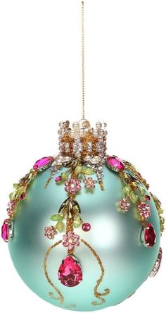 Mark Roberts Christmas Ornaments | King's Jewel Collection | Jeweled Ornaments | Floral Ornament | Blue Ornaments | 36-43980