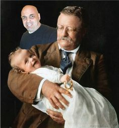 Moments In History by Damon Pettit:  Theodore Roosevelt holding grandson Kermit Roosevelt Jr, 1916. I thought the picture session was over... I was wrong. Teddy told me he understood.
