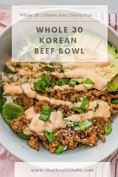 This Korean Beef Bowl is dairy free gluten free whole 30 paleo low carb and is easily made in less than 30 minutes. Whole 30 Diet, Paleo Whole 30, Whole 30 Recipes, Clean Recipes, Whole 30 Meals, Whole 30 Lunch, Dairy Free Low Carb, Dairy Free Recipes, Paleo Recipes