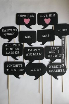 - Photo Booth - you can probably DYI and also make even more funnier thoughts/sayings-want to do this for wedding since we will have a photobooth! Wedding Props, Diy Wedding, Dream Wedding, Wedding Decorations, Wedding Photo Booth Props, Wedding Ideas, Wedding Rustic, Photos Booth, Diy Photo Booth